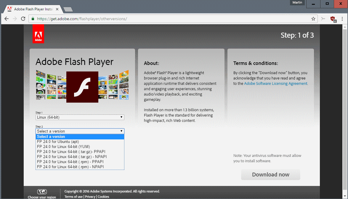 flash player 24 linux