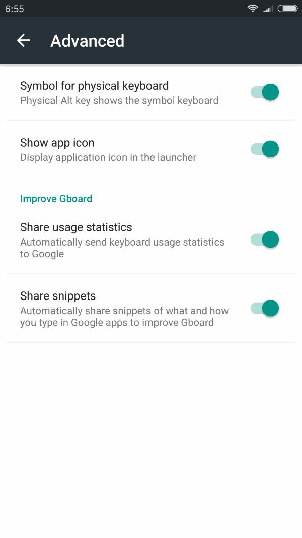gboard privacy advanced