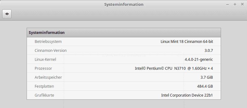 linux mint system information
