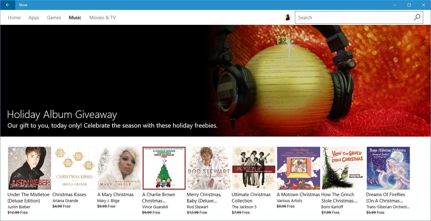 microsoft holiday album giveaway grab 9 free albums ghacks tech news