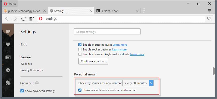 opera newsreader configuration