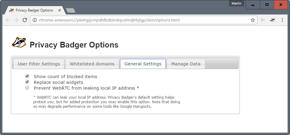 privacy badger 2 webrtc