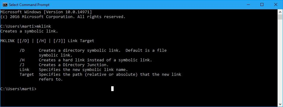 symlinks symbolic links windows 10