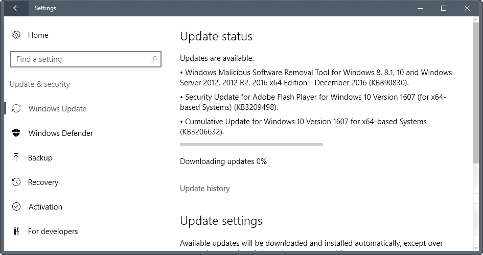 windows updates december 2016