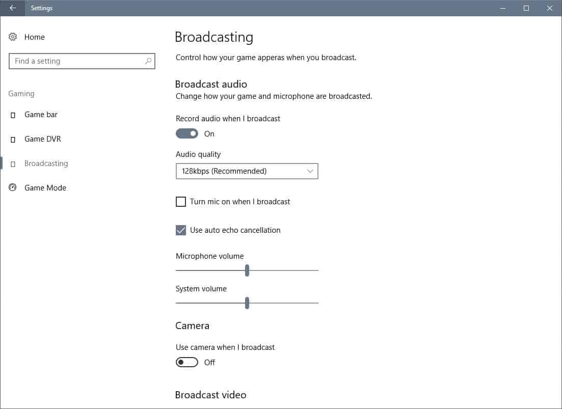 broadcasting settings