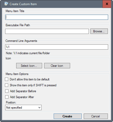 custom context menu
