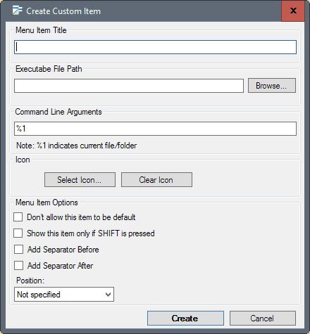 custom context menu