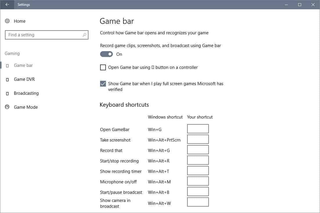 game bar settings