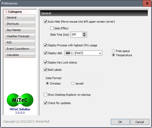 infobar settings