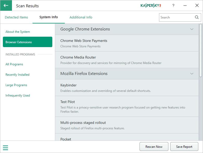 kaspersky system checker info
