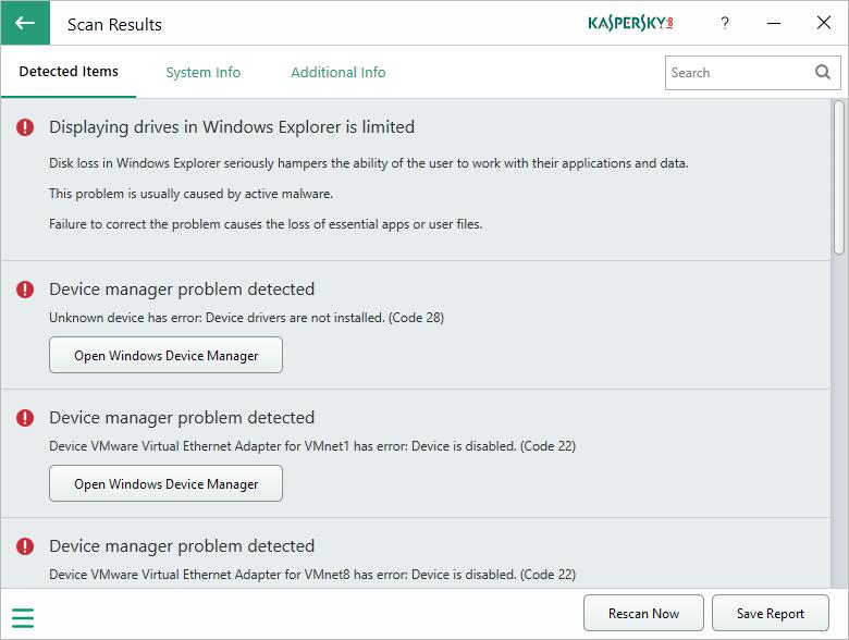 kaspersky system checker scan results