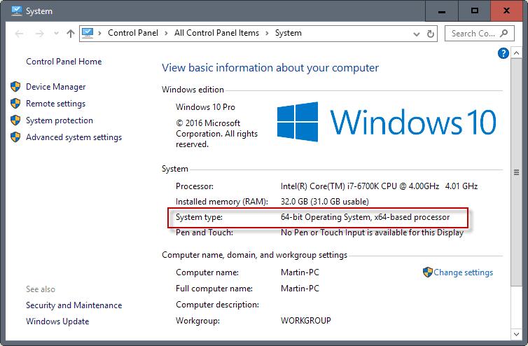 operating system 64-bit