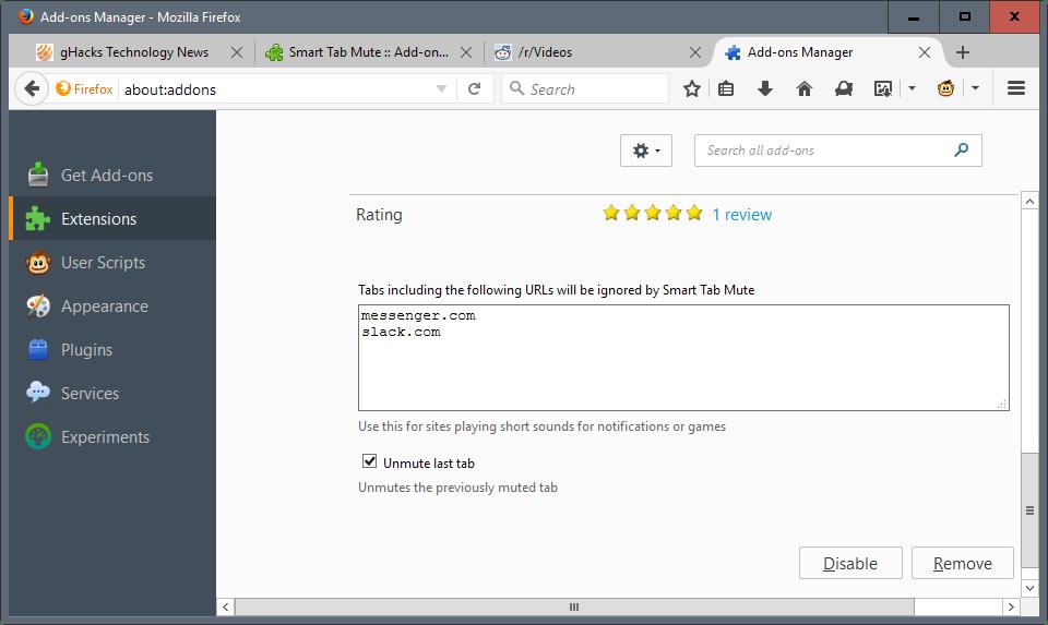 smart tab mute blacklist