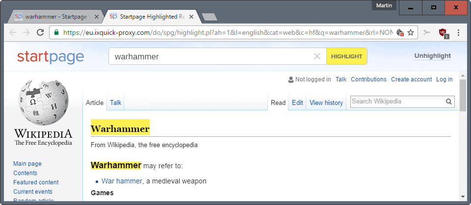 startpage search highlight