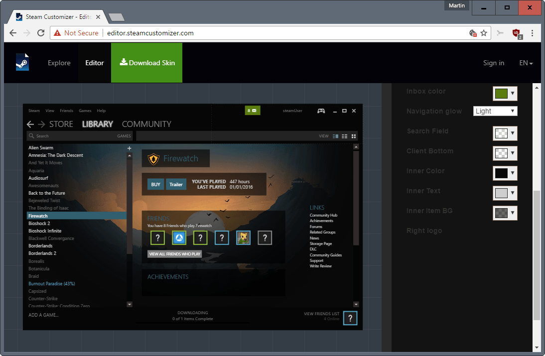 steam customizer