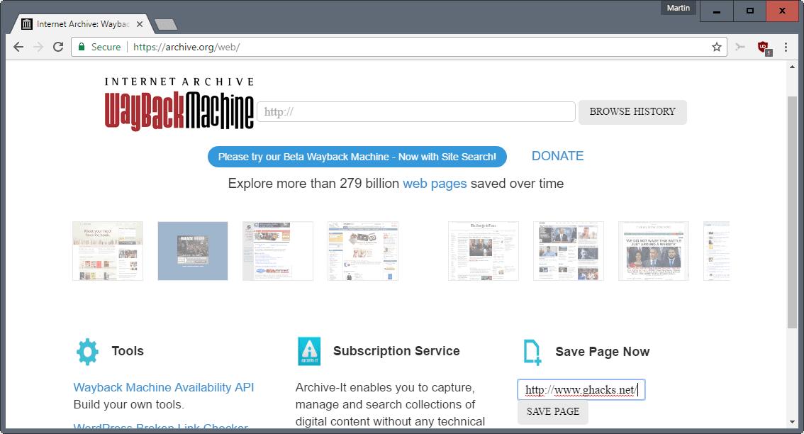 wayback machine preserve web page