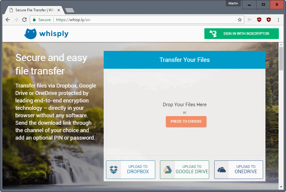 Whisply: transfer encrypted files via Dropbox Google Drive OneDrive