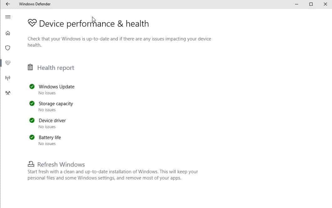 windows defender health refresh