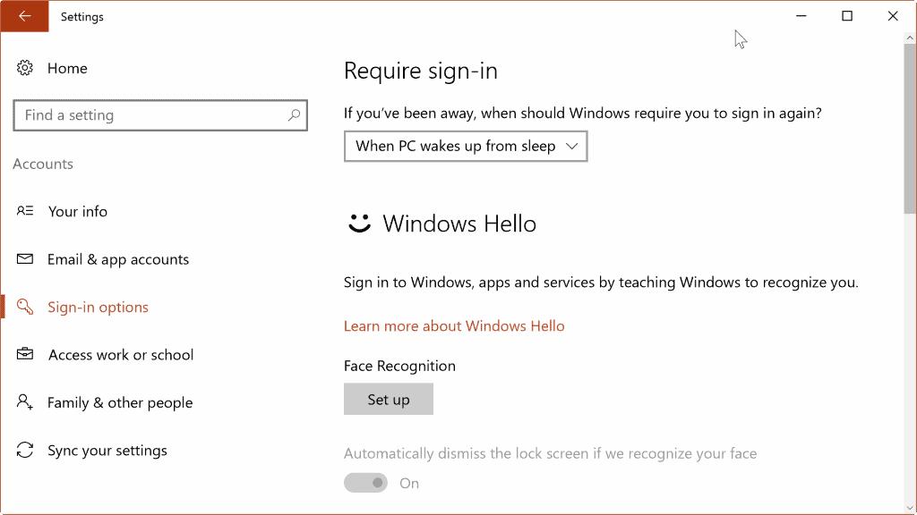 windows hello face recognition