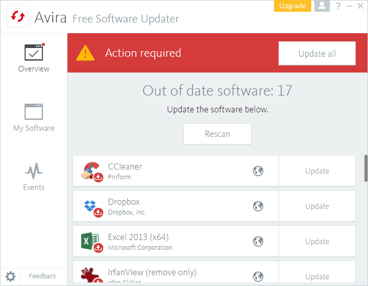 avira free software updater