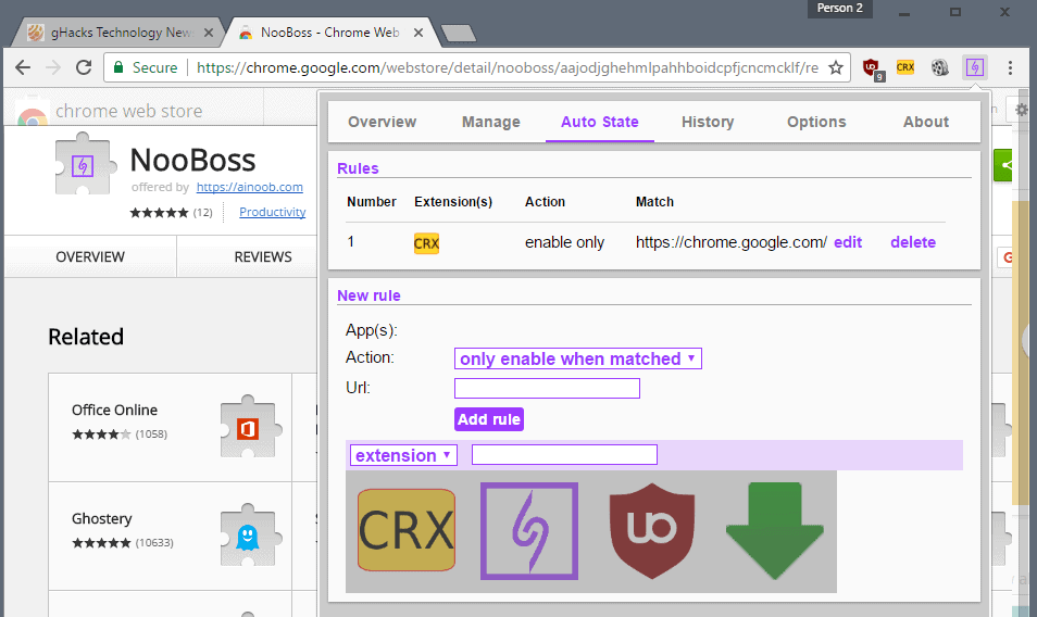 chrome auto state extensions