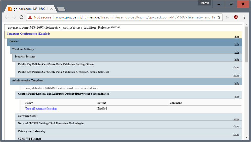 group policy pack privacy telemetry
