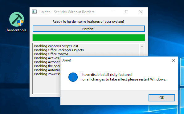 Hardentools: make Windows more secure by disabling features