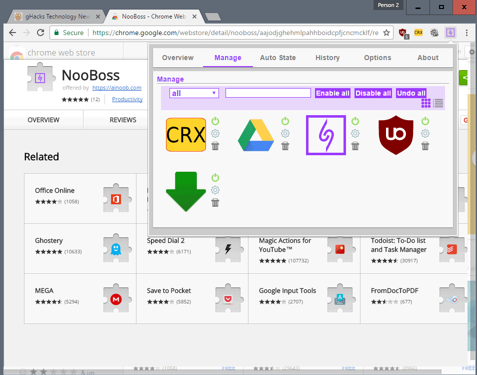 manage chrome extensions nooboss