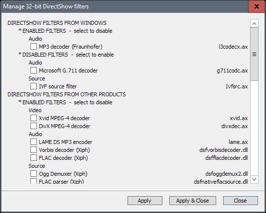 manage codecs windows