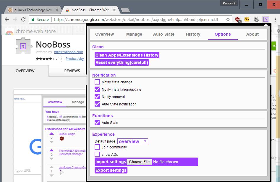 nooboss options