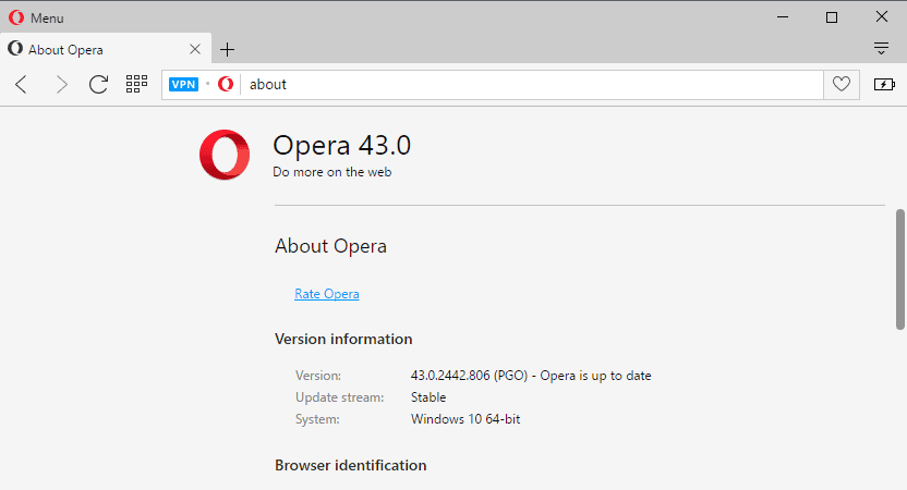 Opera 43: better performance, classic link selection