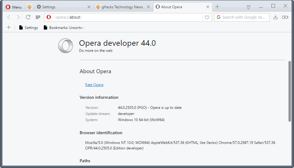 opera browser new design