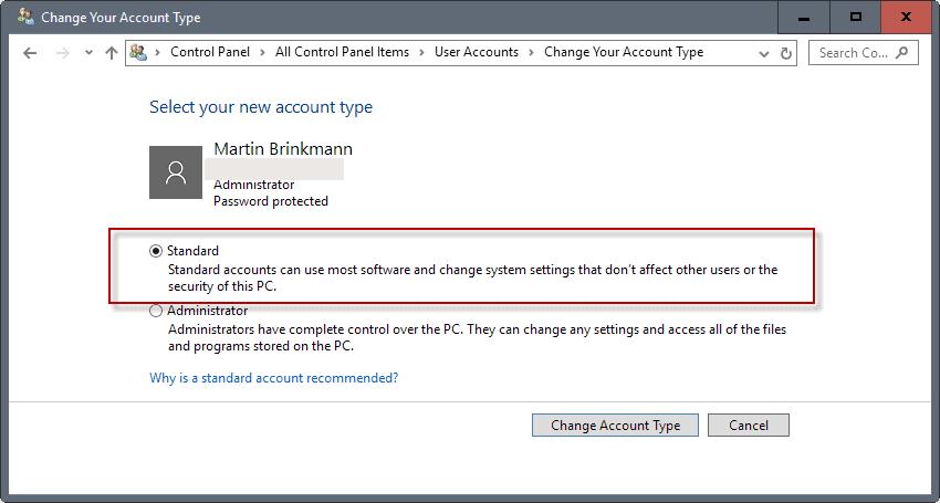 standard windows account