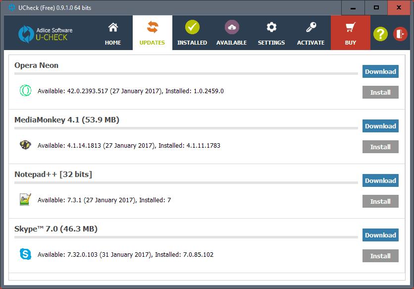 ucheck update check windows
