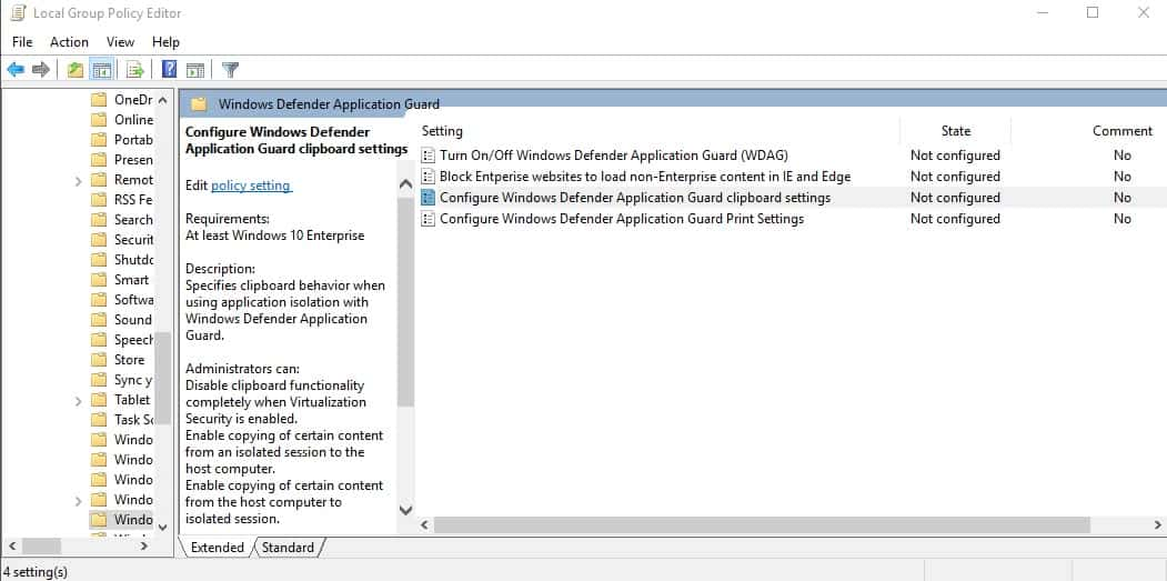 windows application guard group policy