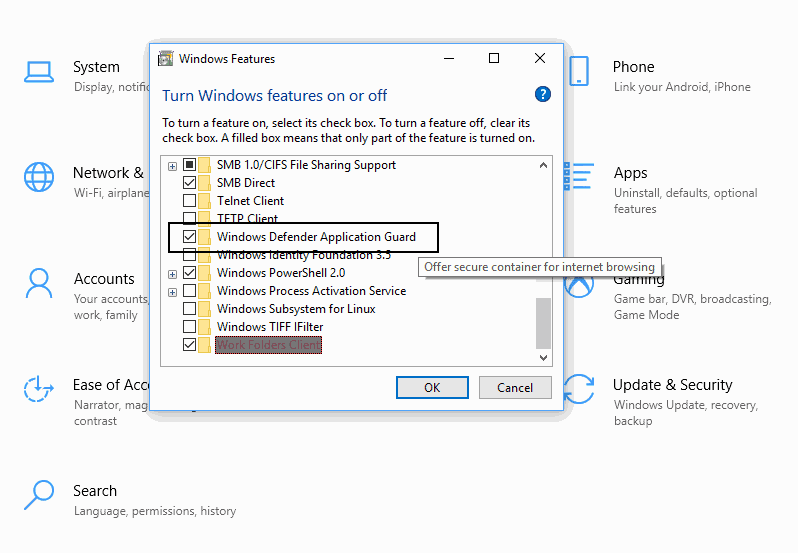 windows-defender-application guard windows 10 pro