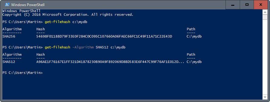 windows powershell get-hash