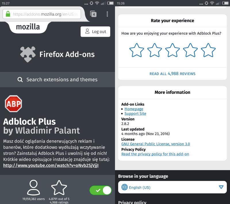 рейтинги мобильных Firefox