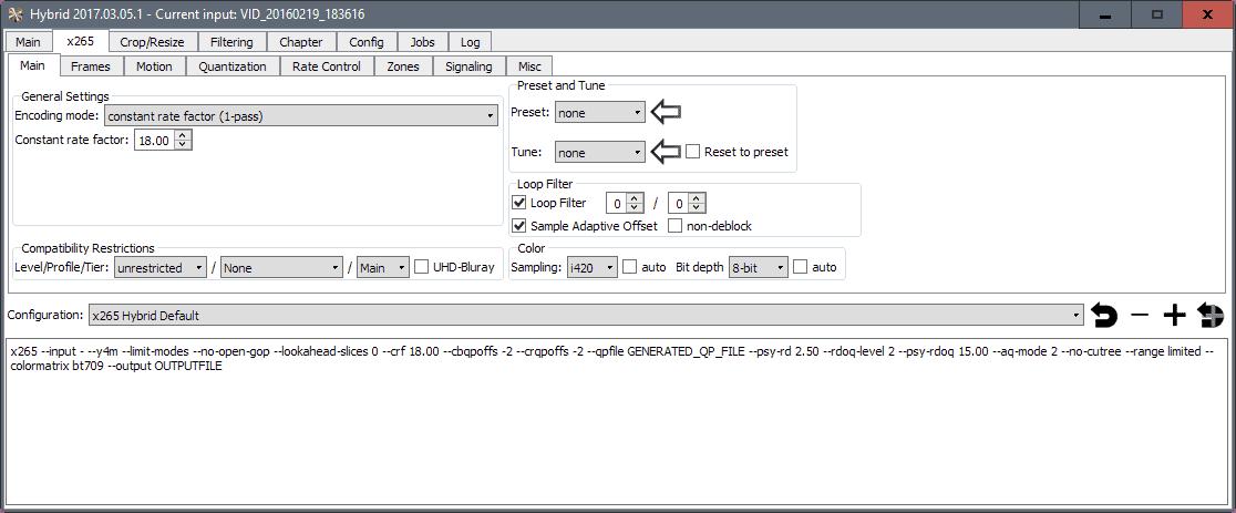 hybrid video converter parameters