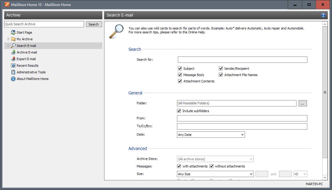 mailstore home 10.1 search