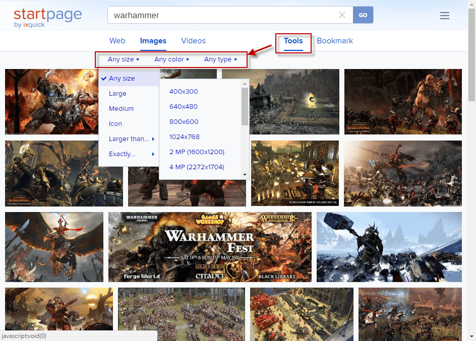 startpage image search tools