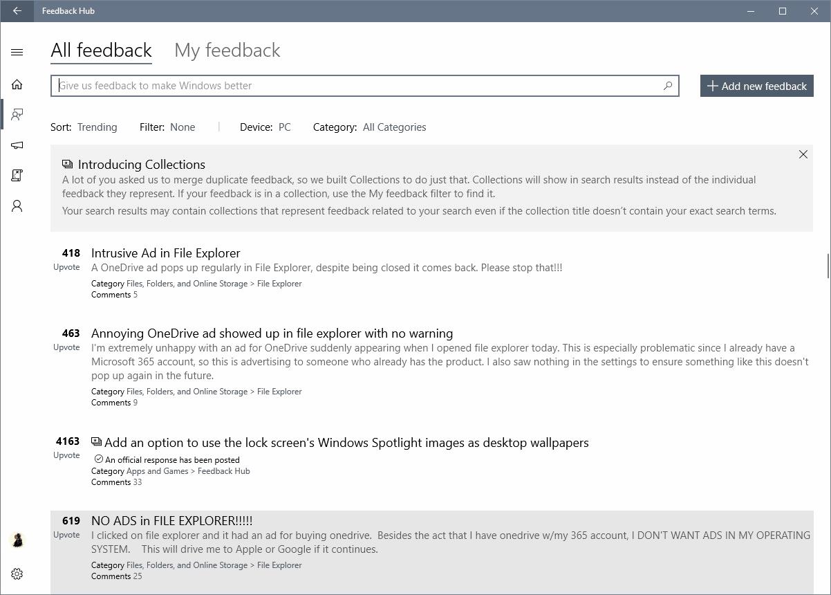 windows feedback hub