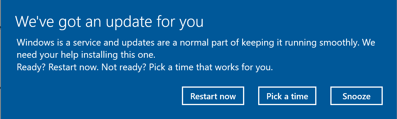 Windows 10 Creators Update: No automatic restarts after