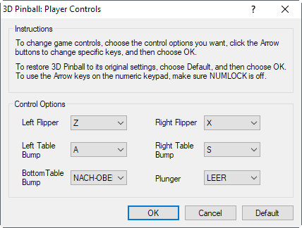 3d pinball player controls