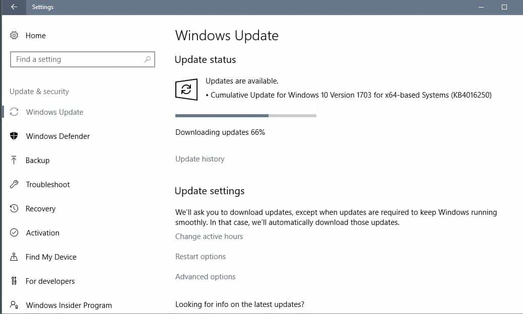 KB4106250: cumulative update for Windows 10 to build 15063.11