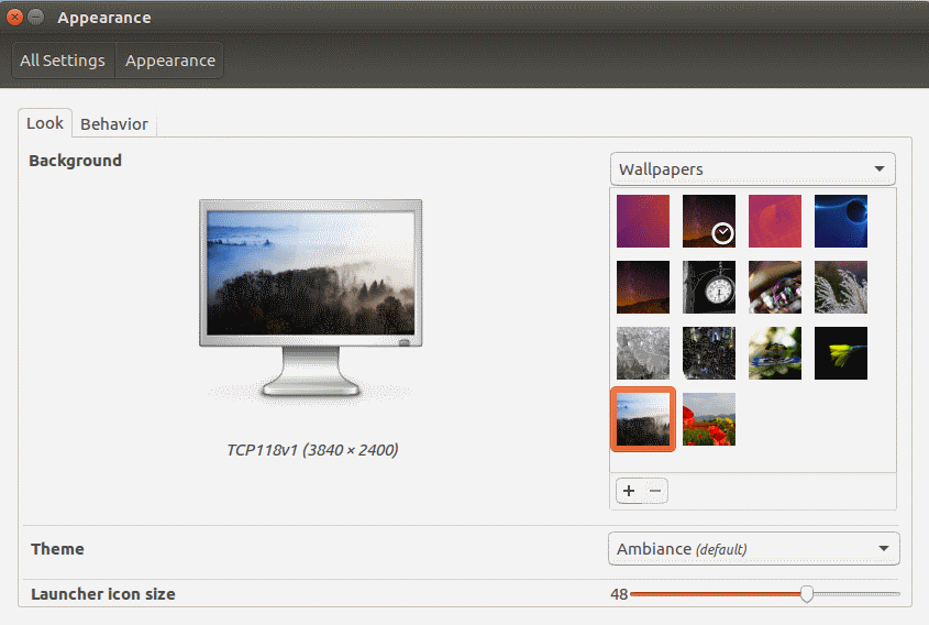 Ubuntu Unity Apperance Menu