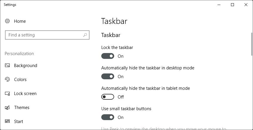 automatically hide the taskbar in desktop mode