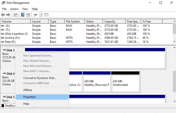 disk management properties