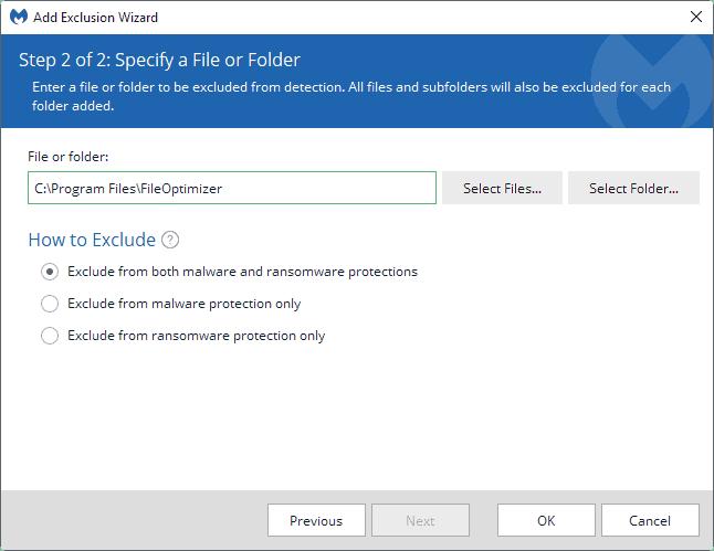 exclude folder malwarebytes