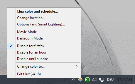f.lux disable mode for apps